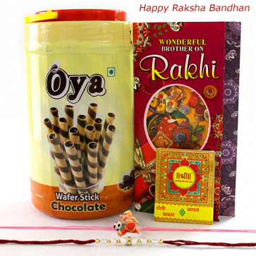 Oya Roll with Rakhi - Oya Premium Waffer Stick with 1 Kids Rakhi & 1 Fancy Rakhi and Roli-Chawal