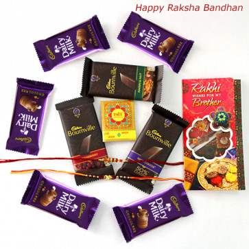 Bournville & Dairy Milk Delight - Bournville 3 Pcs, 5 Dairy Milk with 2 Rakhi and Roli-Chawal