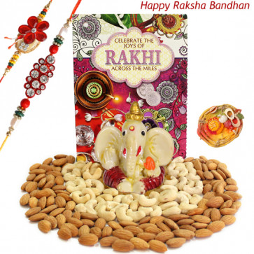 Double Delight - Cashew & Almond, Ganesh Idol with 2 Rakhi and Roli-Chawal
