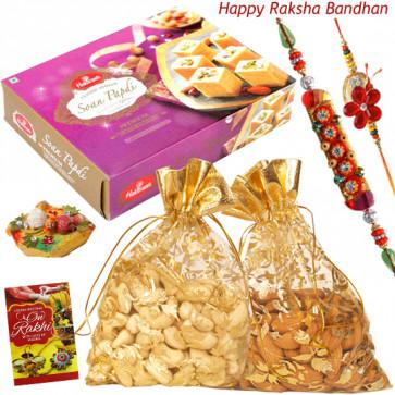 Potli Bags Combo - Cashew & Almond in Potli, Soan Papdi with 2 Rakhi and Roli-Chawal