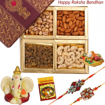Special Dryfruit Delight - Assorted Dry Fruits, Ganesh Idol with 2 Rakhi and Roli-Chawal