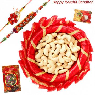 Cashew Wonder Thali - Cashew, Decorative Thali (R) with 2 Rakhi and Roli-Chawal
