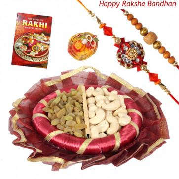 Enticing Dryfruit Thali - Cashew & Raisin, Decorative Thali (R) with 2 Rakhi and Roli-Chawal