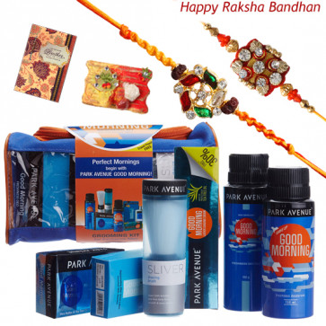 Park Avenue Good Morning Grooming Kit - Lather Shaving Cream, After Shave Lotion Travel Pack, Silver Shaving Brush, Freshness Deo Talc, Deodorant, Soap with 2 Rakhi and Roli-Chawal
