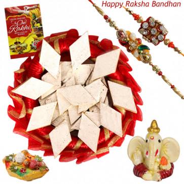 Beautiful Kaju Katli Thali - Kaju Katli, Decorative Thali (R), Ganesh Idol with 2 Rakhi and Roli-Chawal