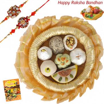Wonderful Kaju Mix Thali - Kaju Mix, Decorative Thali (G) with 2 Rakhi and Roli-Chawal