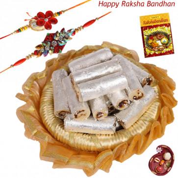 Kaju Anjir Combo Thali - Kaju Anjir Roll, Decorative Thali (G) with 2 Rakhi and Roli-Chawal