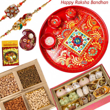 Special Rakhi Thali - Kaju Mix, Assorted Dry Fruit 200 gms, Meenakari Thali 6 inch with 2 Rakhi and Roli-Chawal
