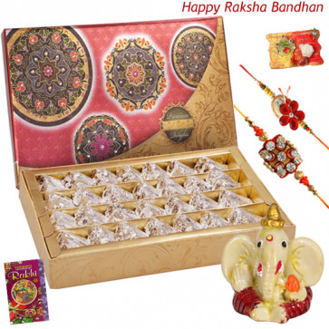 Rakhi Wishes - Kaju Anjir Roll, Ganesh Idol with 2 Rakhi and Roli-Chawal