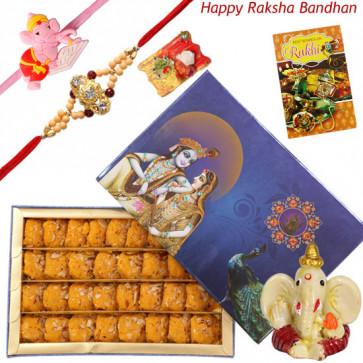 Sweet Enchantment Hamper - Kesar Peda, Ganesh Idol with 1 Kids Rakhi + 1 Fancy Rakhi and Roli-Chawal