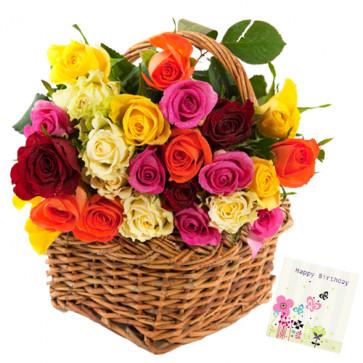 Ideal Basket - 50 Mix Roses Basket + Card