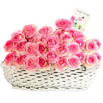 Marvelous Gift - 50 Pink Roses In Basket + Card