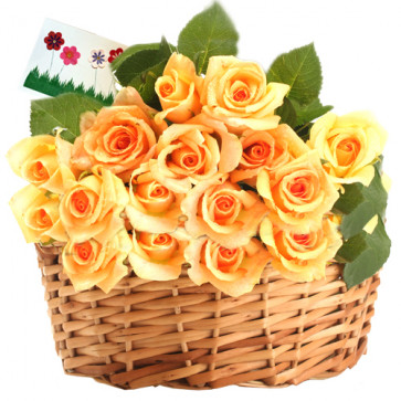 Superb Flowers - 25 Yellow Roses Basket + Card