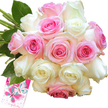 Adorable Present - 6 White & 6 Pink Roses + Card