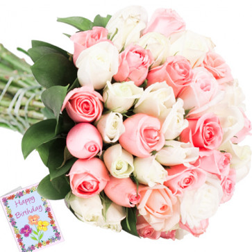 Beauteous - 50 Pink & White Roses + Card