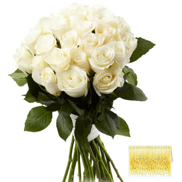 Dazzling Flowers - 15 White Roses + Card