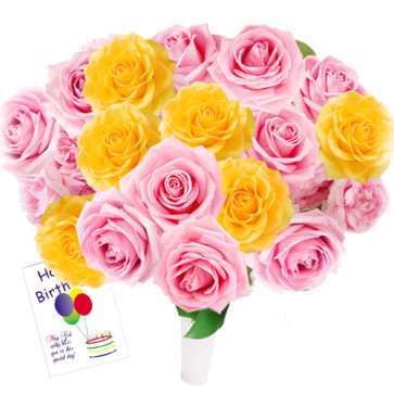 Delightful Gift - 50 Yellow And Pink Roses + Card