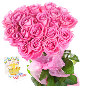 Elegant Gift - 36 Pink Roses + Card