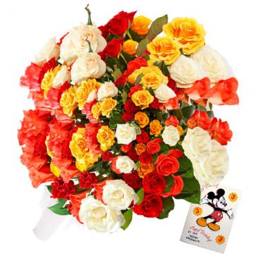Enticing Present - 100 Mix Color Roses + Card