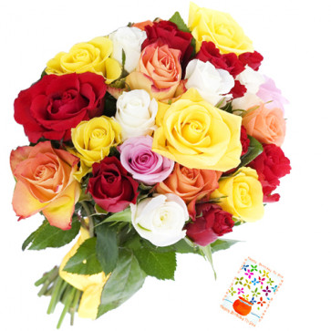 Delicate Flowers - 18 Multi Coloured Roses + Card