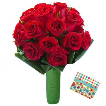 Fascinating Flowers - 35 Red Roses + Card