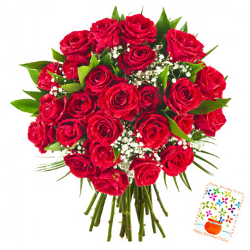 Gorgeous Flowers - 60 Red Roses + Card