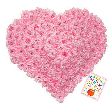 Phenomenal - Heart Shape Basket Arangement Of 125 Pink Roses + Card
