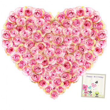 Special Love - Arrangement Of 60 Pink Roses In A Heart Shape Basket + Card