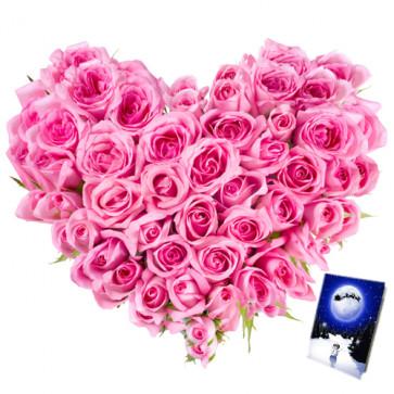 Unique - Heart Shape Arangement Of 75 Pink Roses + Card
