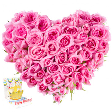 Amicable - 40 Pink Roses Heart Shaped + Card