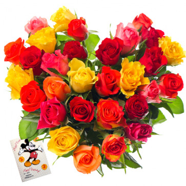 Striking Arrangement - 25 Mix Colored Roses Heart Shaped Arrangement + Card