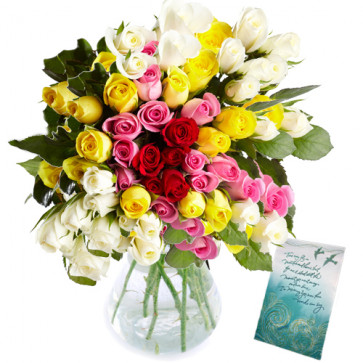 Tempting Flowers - 50 Mix Roses In Vase + Card
