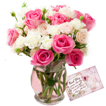 Charismatic - 20 Red And White Roses In Vase + Card