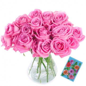 Luring - 20 Pink Roses In Vase + Card