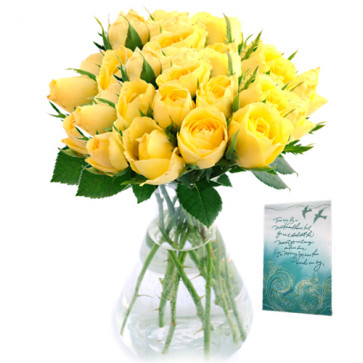 Impressive - 20 Yellow Roses in Vase + Card