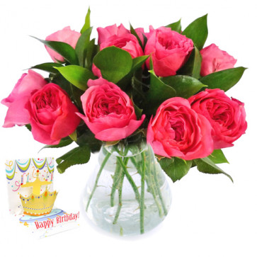 Exotic - 15 Pink Roses in Vase + Card