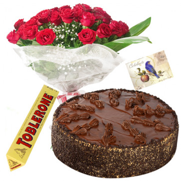 Perfect Present - Bouquet Of 12 Red Roses + 1/2 Kg Chocolate Cake + 1 Toblerone Chocolate + Card