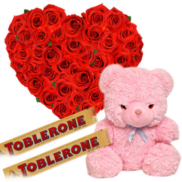 """Great Gift - Heart Shaped Arrangement 50 Red Roses + 2 Toblerone Chocolate Bars + Teddy Bear 8""""  + Card"""