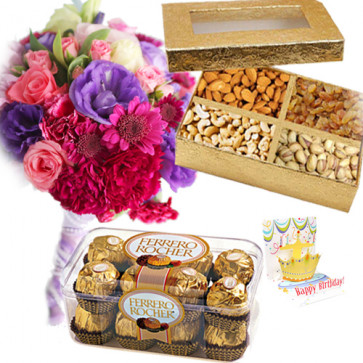 Glorious Gift - 25 Mix Flowers Bouquet + 200 Gms Assorted Dryfruits Box + 16 Pcs Ferrero Rocher + Card