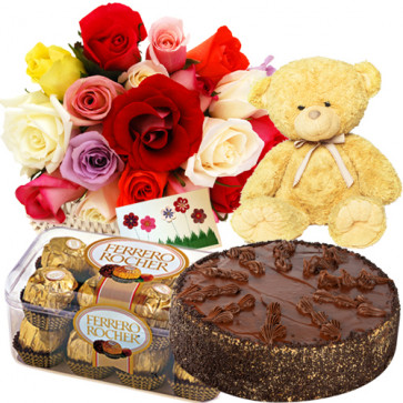 "Supreme Hamper - Basket 15 Multi Color Roses + Teddy Bear 6"" + 1/2 Kg Chocolate Cake + Ferrero Rocher 16 Pcs + Card"