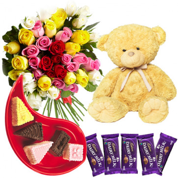 """Heavenly Gift - 12 Mix Roses Bouquet + 5 Dairy Milk 40 Gms Each + Teddy 6"""" + 5 Assorted Pastries + Card"""