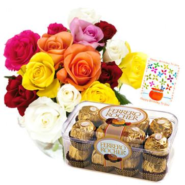 Mind-Blowing Hamper - 20 Multi Color Roses In Vase + Ferrero Rocher 16 Pcs + Card