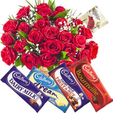 Marvellous Choice - Basket 50 Red Roses + 5 Cadbury Chocolates  + Card