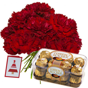 Rare Idea - Bouquet 12 Red Carnations + Ferrero Rocher 16 Pcs + Card