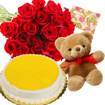 Bestowed Love - Bouquet Of 25 Red Roses + Teddy Bear  6 Inches + 1/2 Kg Pineapple Cake + Card