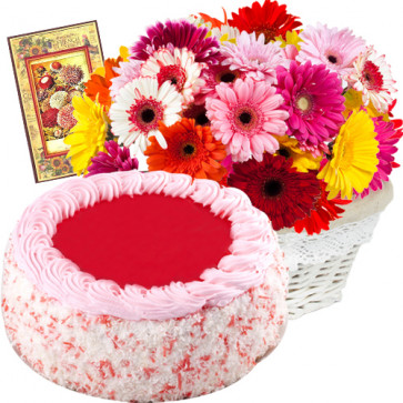 Exclusive Duo - 25 Multi-Coloured Gerberas Basket + 1/2 Kg Cake + Card