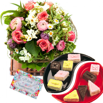 Mighty Gift - 25 Assorted Flowers in Basket + 10 Pcs Pastries + Card