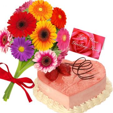 Outstanding Choice - 12 Assorted Gerberas Bouquet + 1 Kg Heart Shaped Strawberry Cake + Card