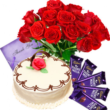 Lovefilled Present - 12 Red Roses Vase + 1/2 Kg Vanila Cake + 5 Dairy Milk 20 Gms Each + Card