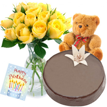 Showing Fondness - 15 Yellow Roses Vase +  1/2 Kg Chocolate Cake +  Teddy 6 Inches + Card